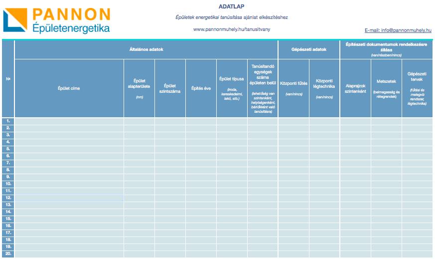 Energia tanúsítvány ára - Adatlap a Pannon épületenergetika által kiállított energetikai tanúsítvány adatlapról.
